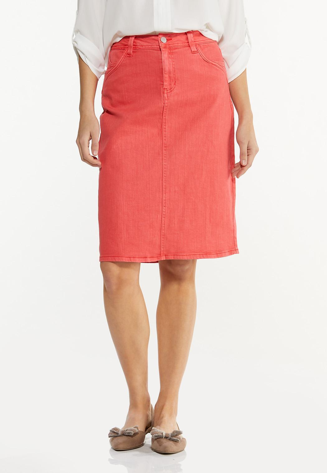 Colored Denim Skirt