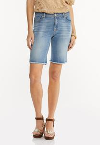 Frayed Denim Bermuda Shorts