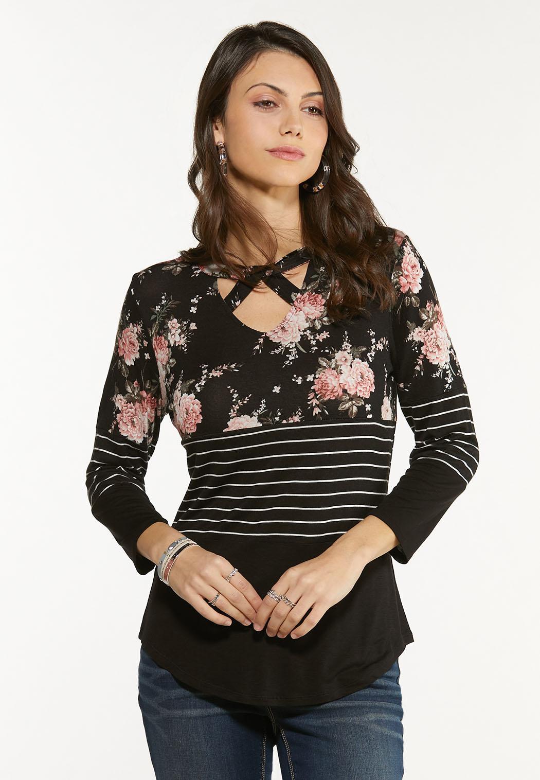 Plus Size Criss Cross Striped Floral Top