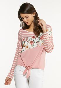 Plus Size Knotted Colorblock Floral Top