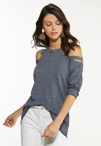 Plus Size Cutout Cold Shoulder Sweatshirt