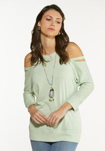 Plus Size Cutout Cold Shoulder Sweatshirt