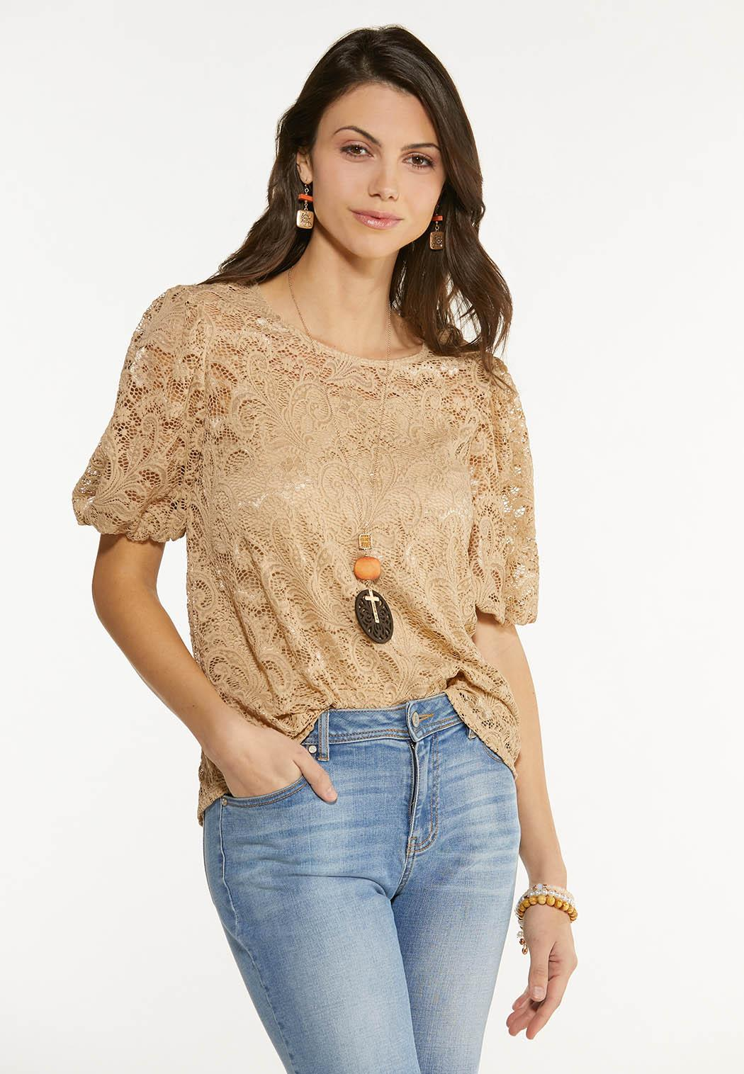 Plus Size Lace Balloon Sleeve Top