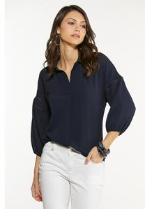 Navy Lace Inset Top