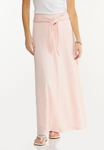 Plus Size Gauze Tie Waist Maxi Skirt