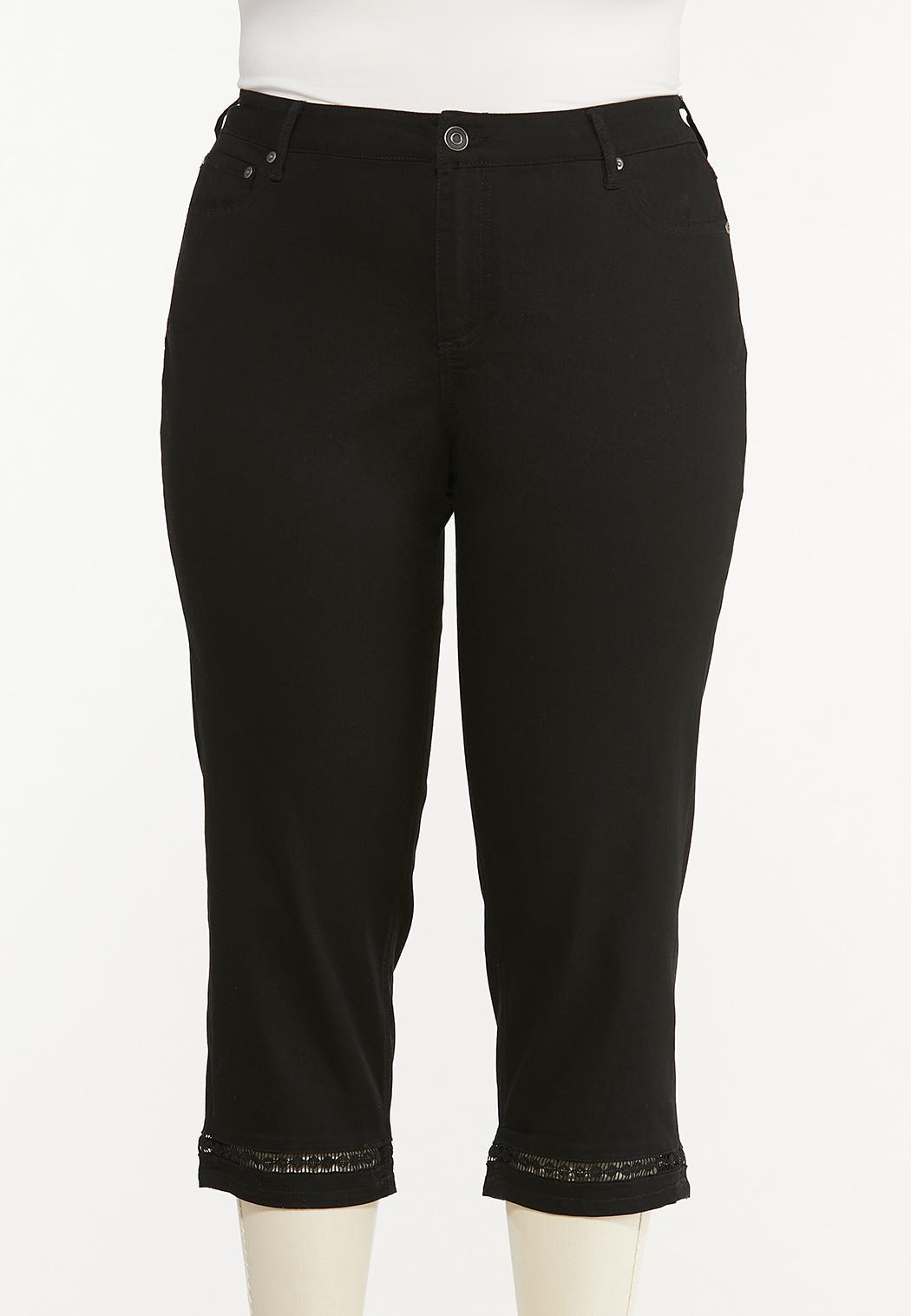 Plus Size Cropped Black Lattice Jeans
