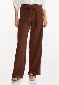 Textured Tie Front Pants