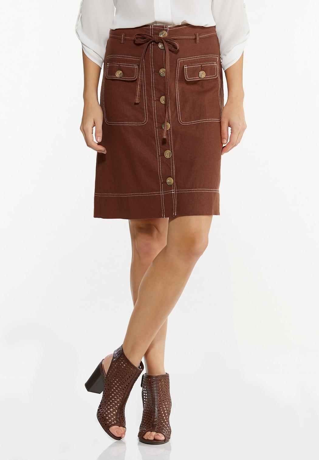 Contrast Stitch Linen Skirt