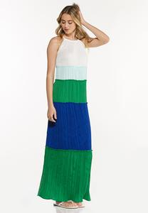 Plus Size Pleated Colorblock Maxi Dress