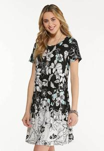 Plus Size Stretchy Floral Swing Dress