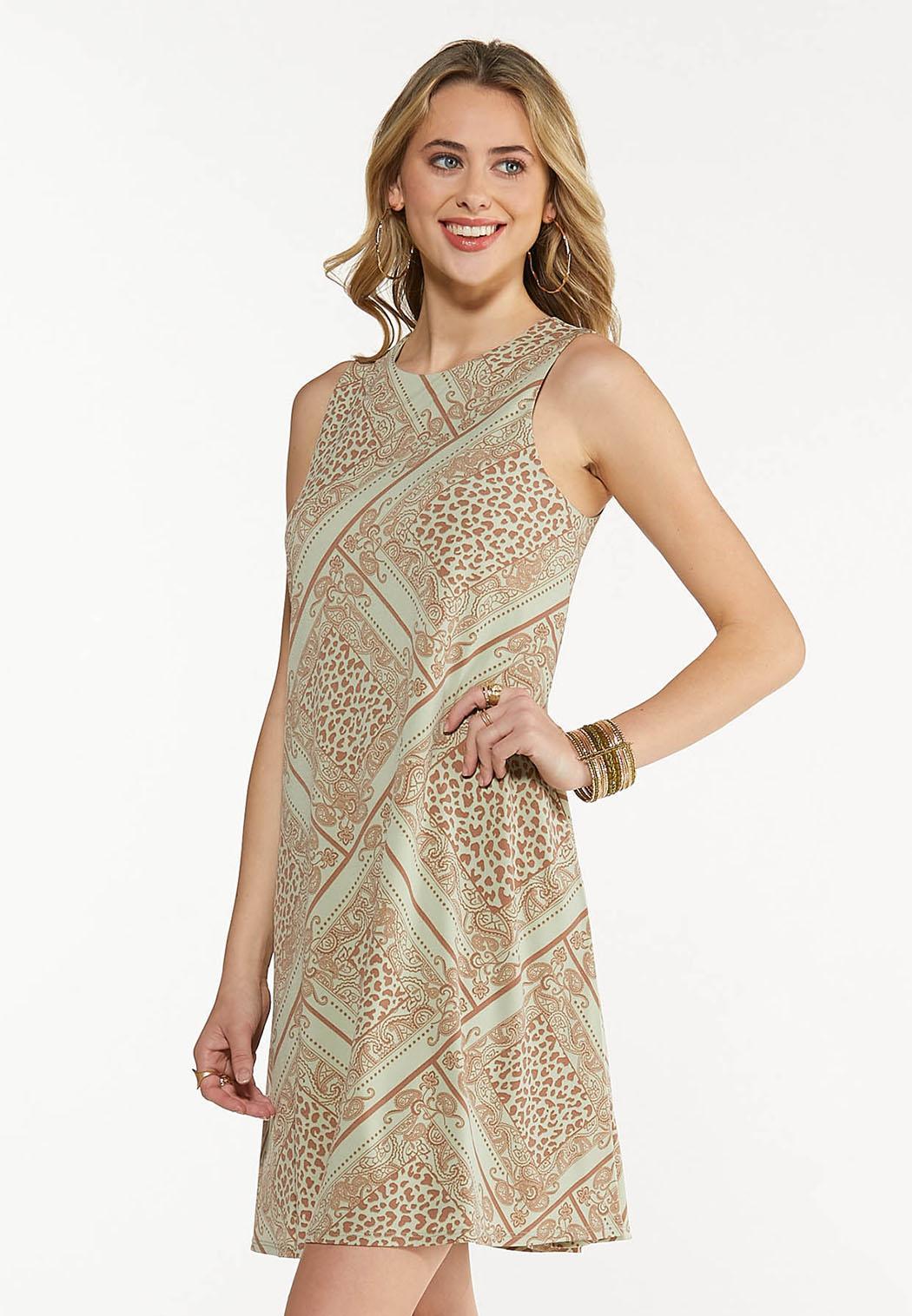 Plus Size Leopard Diamond Swing Dress