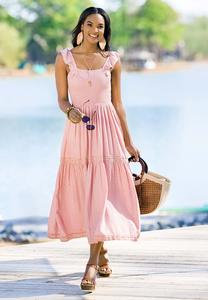 Smocked Blush Midi Dress