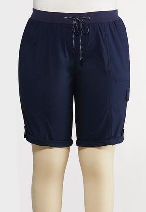 Plus Size Solid Cargo Shorts