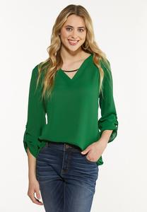 Plus Size Green Silver Hardware Top