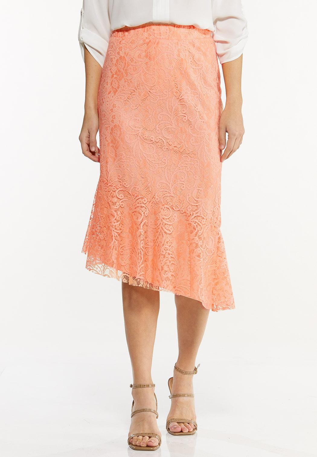 Asymmetrical Lace Midi Skirt