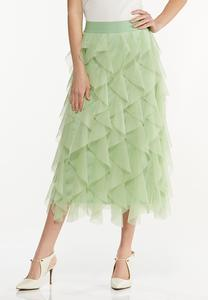 Ruffled Mesh Skirt