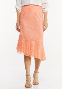 Plus Size Asymmetrical Lace Midi Skirt