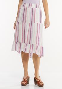 Plus Size Berry Stripe Midi Skirt