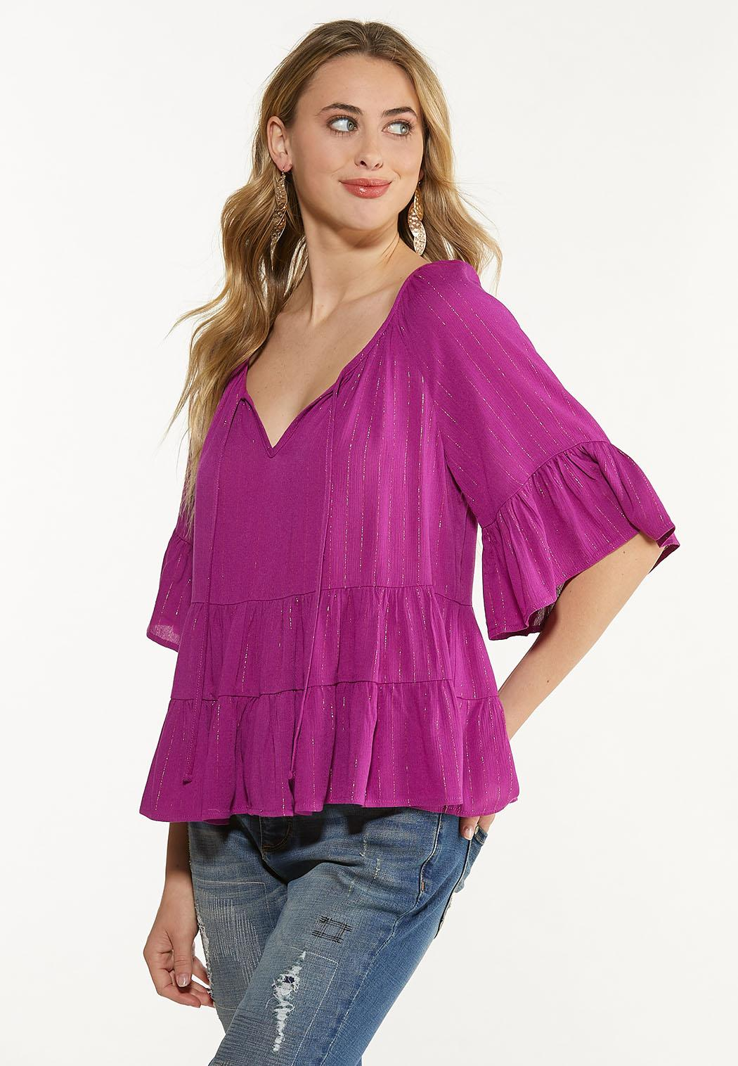 Plus Size Purple Tiered Poet Top