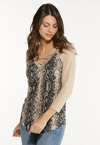 Lace Up Snake Print Top