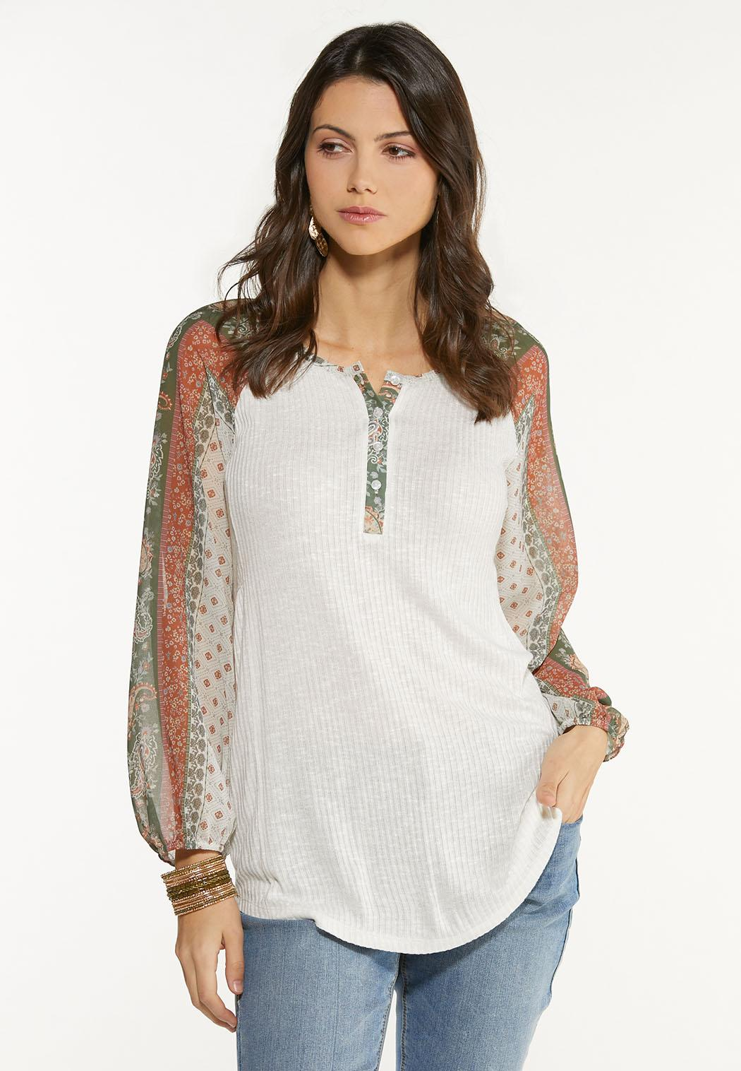 Plus Size Sheer Patchwork Sleeve Top