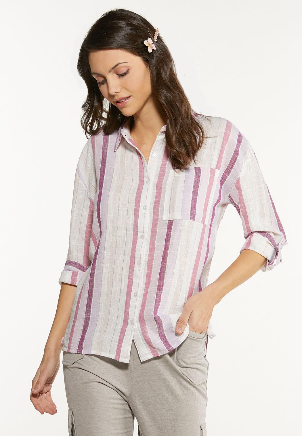 Berry Stripe Linen Shirt