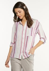 Berry Stripe Linen Shirt