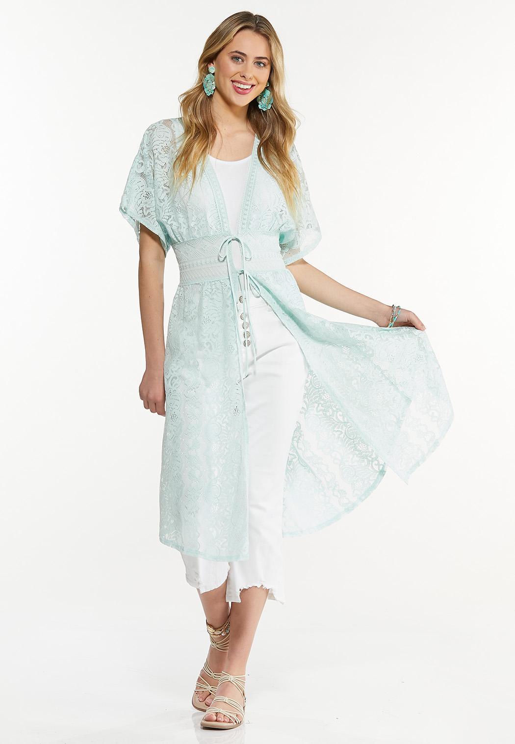 Plus Size Lace Midi Kimono
