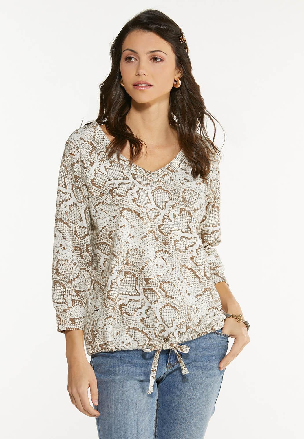 Animal Tie Waist Sweatshirt