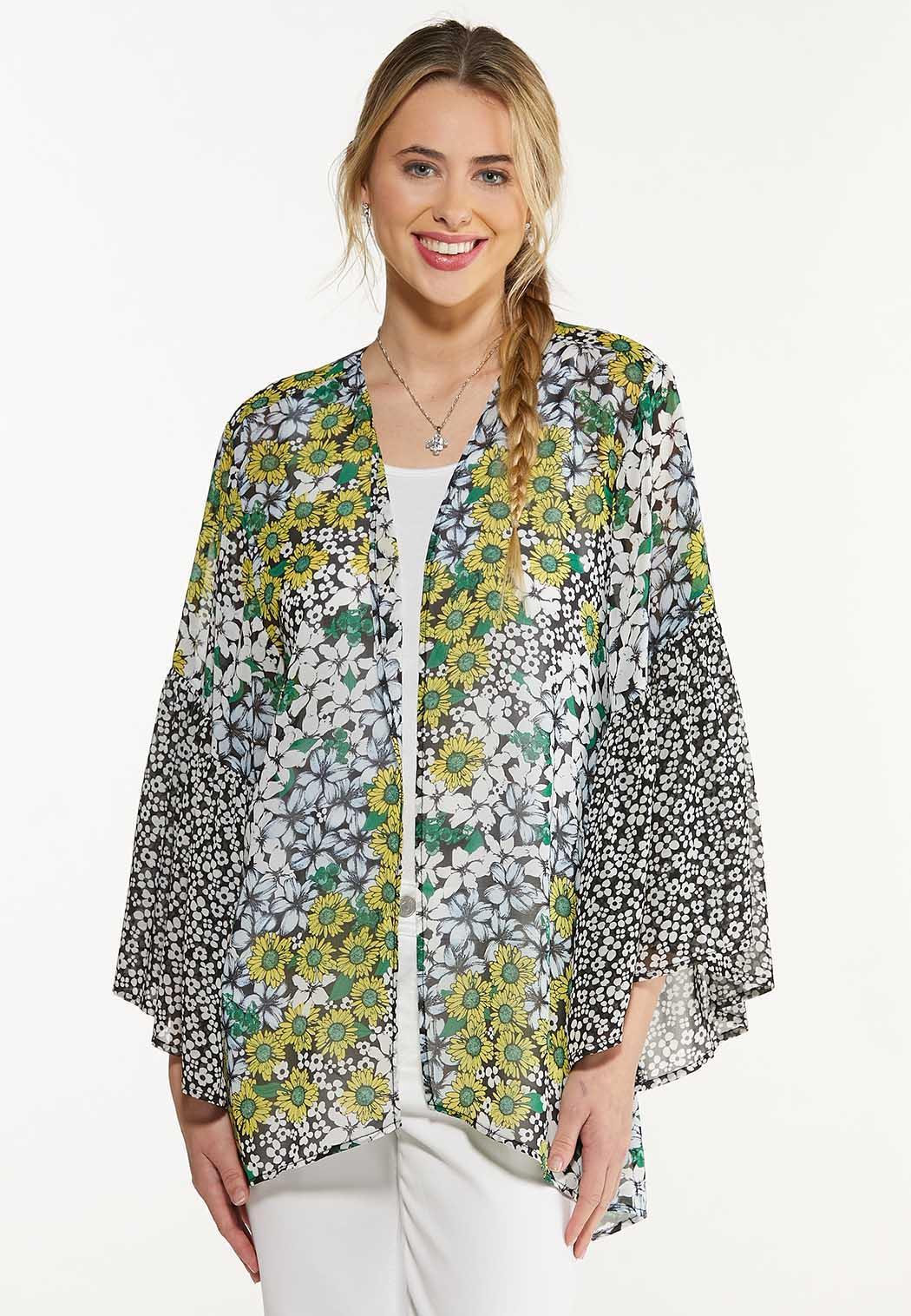 Plus Size Mixed Floral Kimono