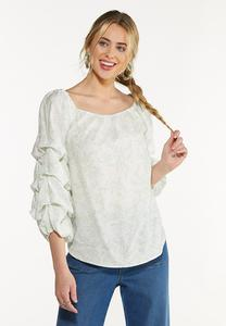 Plus Size Ruffled Balloon Sleeve Top