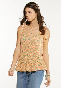 Plus Size Tied Floral Peplum Tank