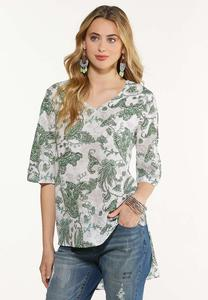 Plus Size Paisley Ladder Sleeve Top
