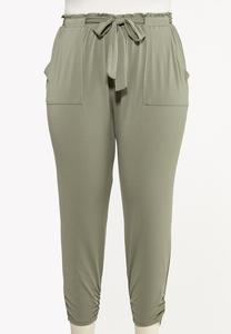 Plus Size Belted Utility Joggers