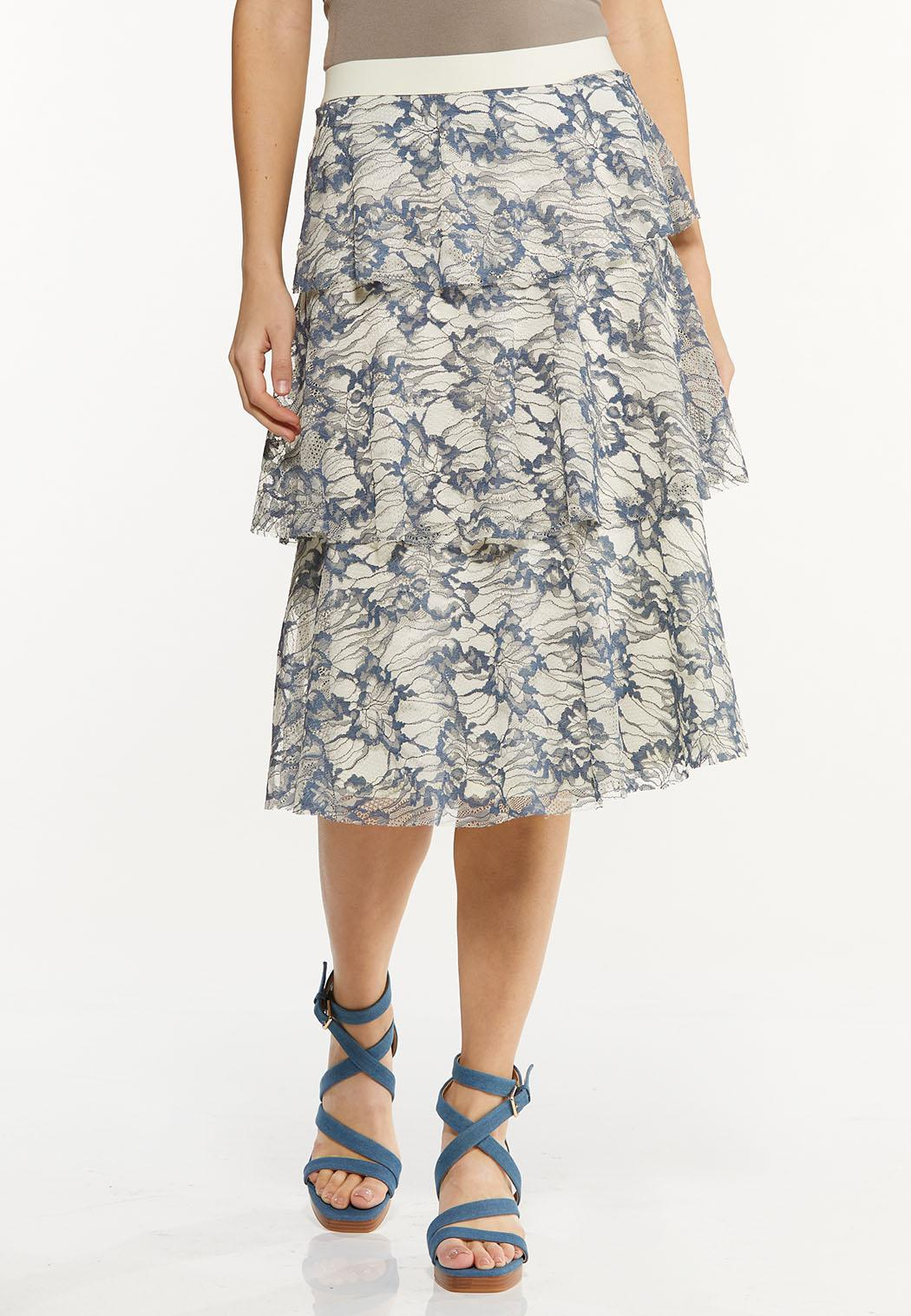 Plus Size Tiered Lace Midi Skirt