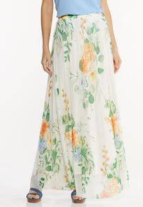 Plus Size Mesh Floral Maxi Skirt
