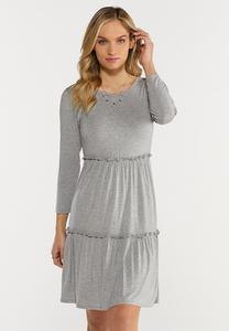 Plus Size Gray Ruffled Babydoll Dress