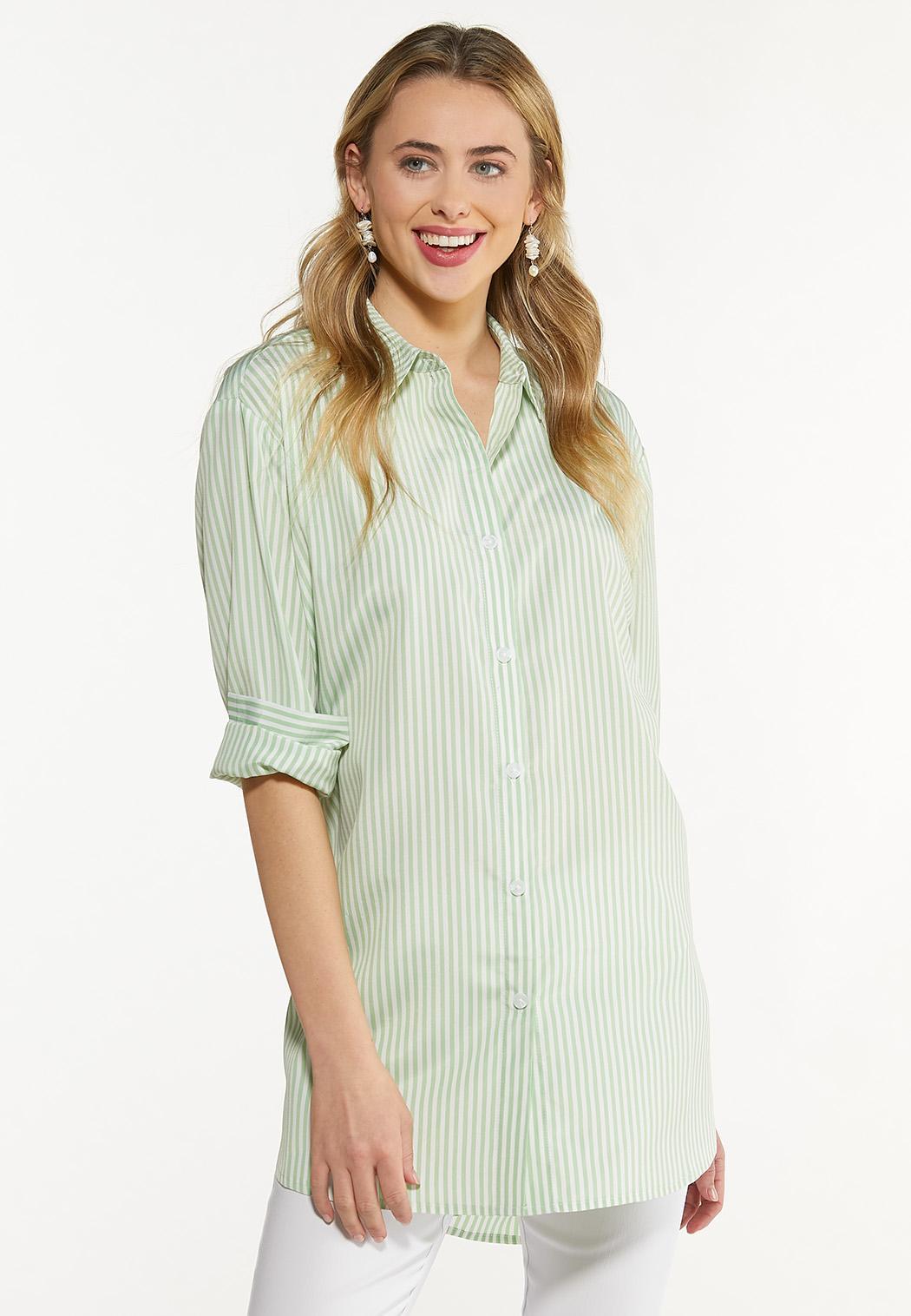 Green Stripe Poplin Tunic