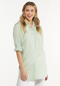Plus Size Green Stripe Poplin Tunic