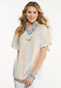 Plus Size Smocked Pastel Stripe Top