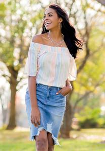 Plus Size Smocked Pastel Stripe Top