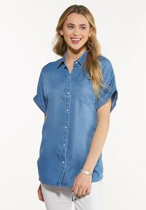 Plus Size Chambray Button Collar Tunic