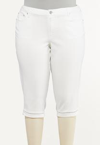 Plus Size Cropped Lattice Jeans