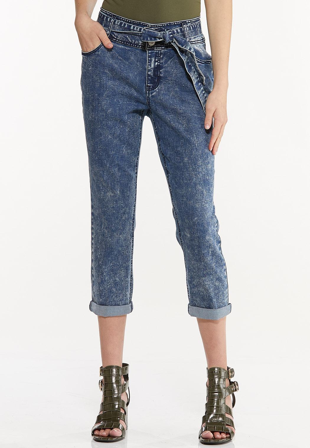 Tie Belt Cropped Girlfriend Jeans