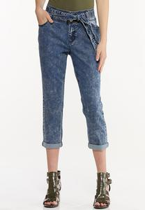 Tie Belt Cropped Girlfriend Jeans