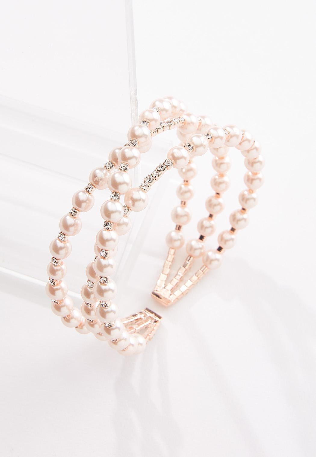 Cubic Zirconia Pearl Cuff Bracelet