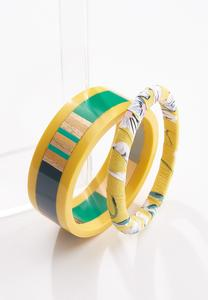 Fabric Wrapped Resin Bangle Set