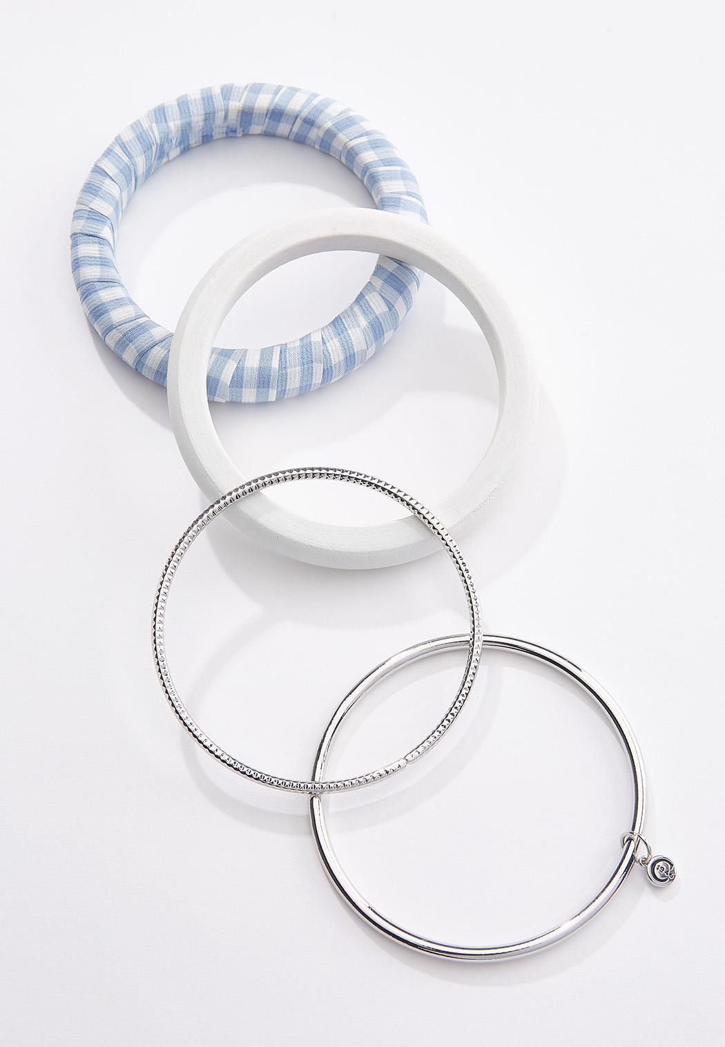 Gingham Silver Bangle Bracelet Set