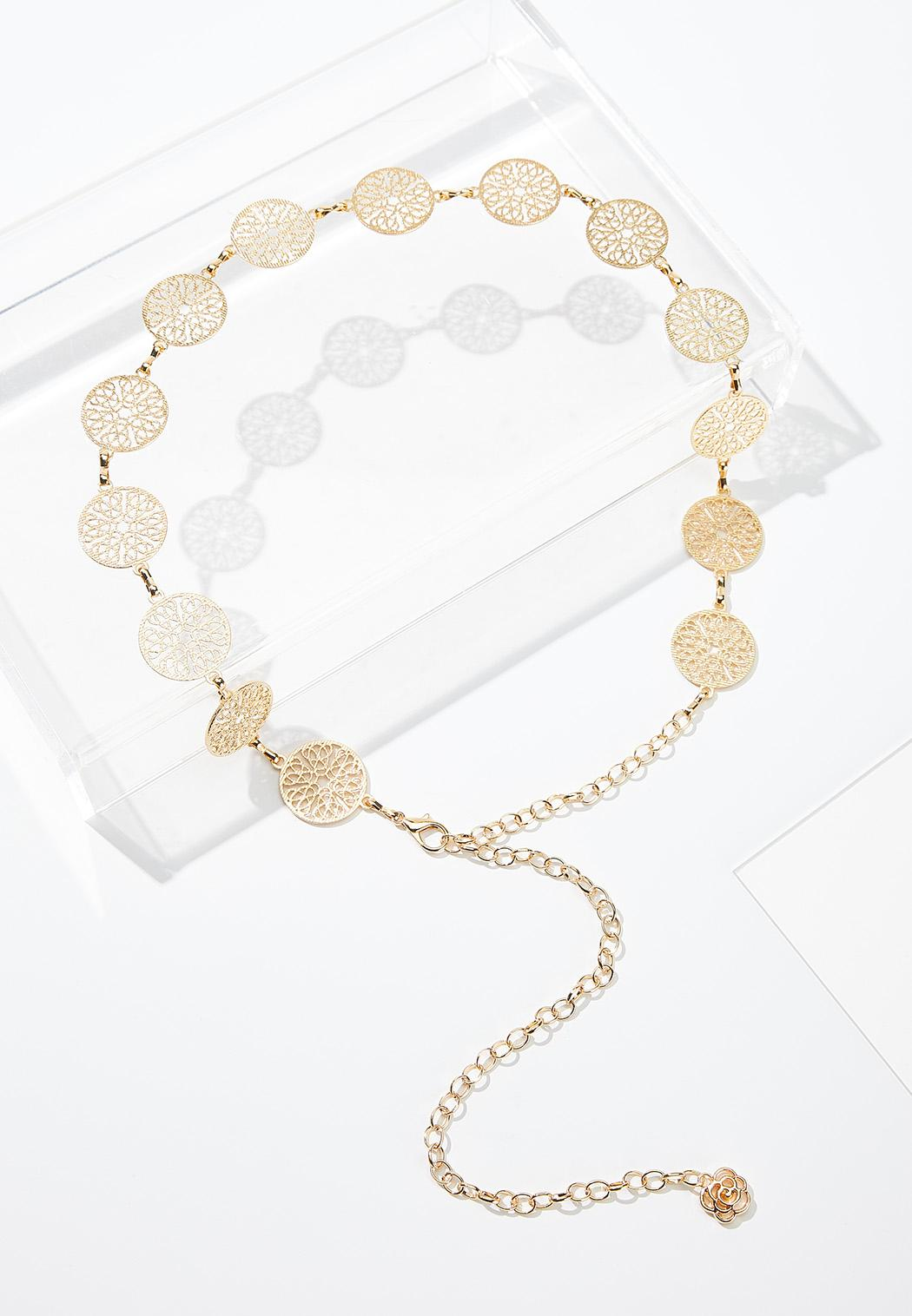 Plus Size Filigree Gold Chain Belt