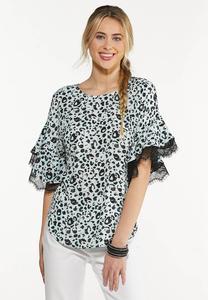 Leopard Lace Trim Top